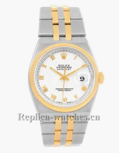 Replica Rolex Oysterquartz Datejust 17013 steel oyster case 36mm White Dial Mens Watch