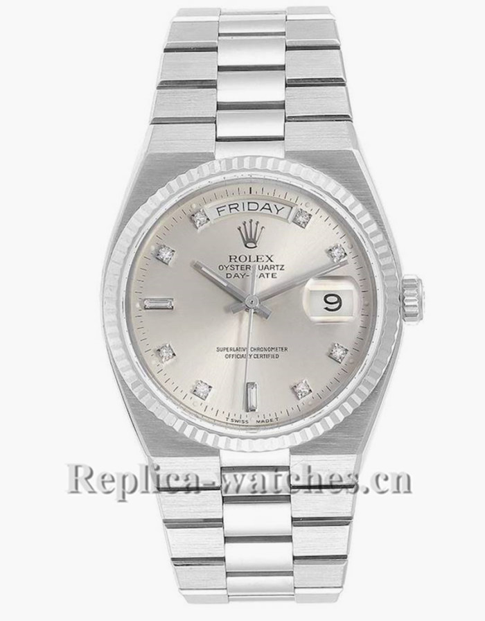 Replica Rolex Oysterquartz President Day-Date 19019 cyclops magnifier 36mm Silver dial Mens Watch