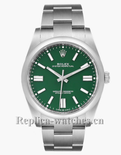 Replica Rolex Oyster Perpetual 124300  Stainless steel case 41mm Green Dial Mens Watch