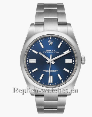 Replica Rolex Oyster Perpetual 124300 Stainless steel case 41mm Blue dial Automatic Mens Watch