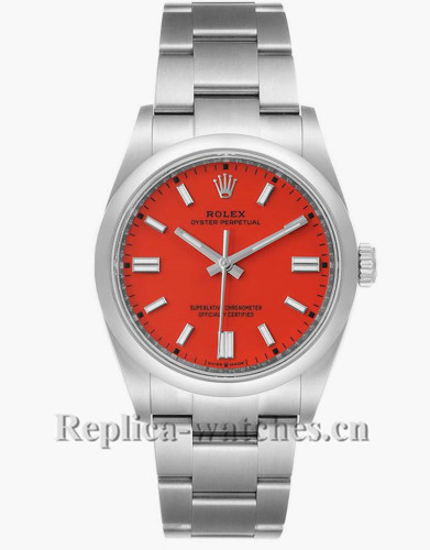 Replica Rolex Oyster Perpetual 126000  Stainless steel case 36mm Coral Red Dial Mens Watch