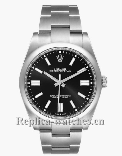 Replica Rolex Oyster Perpetual 124300 Smooth domed bezel 41mm Automatic Black dial Mens Watch