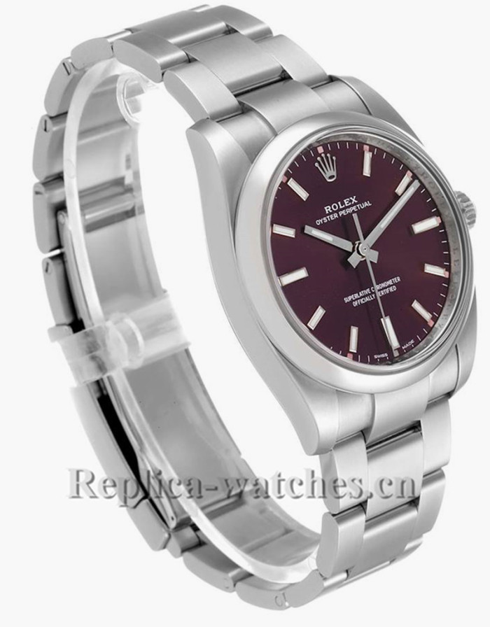 Replica Rolex Oyster Perpetual 114200 Oyster bracelet 34mm Red Grape Dial Mens Watch