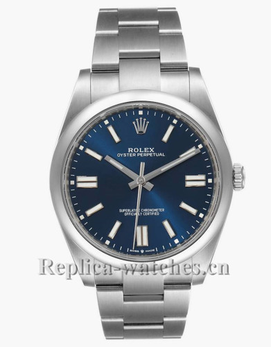 Replica Rolex Oyster Perpetual 124300 Stainless steel case 41mm Blue Dial Mens Watch Unworn