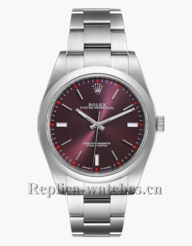Replica Rolex Oyster Perpetual 114300 Red Grape Dial 39mm Steel Mens Watch  Box Card