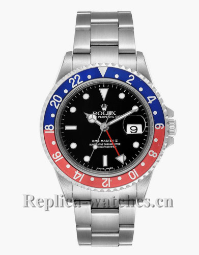 Replica Rolex GMT Master II 16710 Pepsi Red and Blue Bezel Steel 40mm Black dial Mens Watch