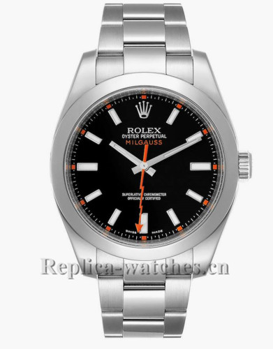 Replica Rolex Milgauss 116400 Black Dial Domed Bezel Steel 40mm Mens Watch