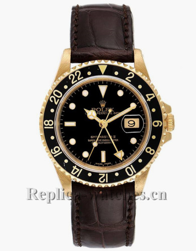 Replica Rolex GMT Master II 16718 Brown leather strap 40mm Black Dial Mens Watch