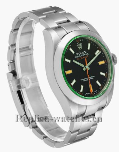 Replica Rolex Milgauss 116400GV Black Dial Green Crystal Steel 40mm Mens Watch  Box Card