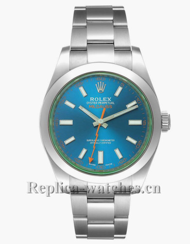 Replica Rolex Milgauss 116400GV Blue Dial Green Crystal Steel 40mm Mens Watch