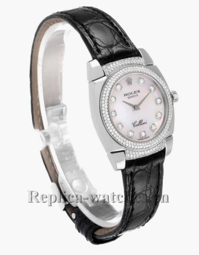 Replica Rolex Cellini Cestello 6311 Black leather strap 26mm Mother of pearl dial  Ladies Watch