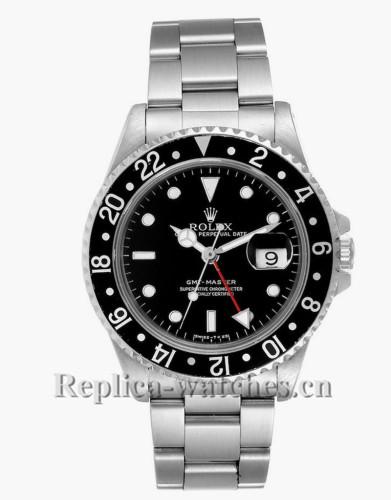 Replica Rolex GMT Master 16700 Black dial 40mm Black Bezel Automatic Steel Mens Watch