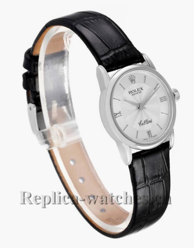 Replica Rolex Cellini 6111  Classic White Gold Silver Dial 26mm Ladies Watch Papers