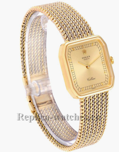 Replica Rolex Cellini 4347 Sapphire crystal Champagne Dial Ladies Movement Watch
