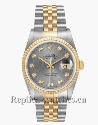 Replica Rolex Datejust 16233 Stainless steel case 36mm Grey jubilee anniversary dial Mens Watch