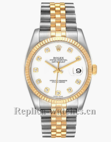 Replica Rolex Datejust 116233 Stainless steel case 36 mm White Diamond Dial Mens Watch