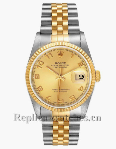 Replica Rolex Datejust 16233  Stainless steel case 36mm Champagne Dial Mens Watch