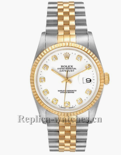 Replica Rolex Datejust 16233 Stainless steel case 36mm White Diamond Dial Watch  Box Papers