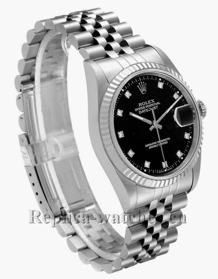 Replica Rolex Datejust  16234 Steel White Gold 36mm Black Diamond Dial Mens Watch