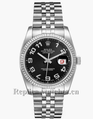 Replica Rolex Datejust 116234 Stainless steel case 36mm Black Concentric Dial Mens Watch