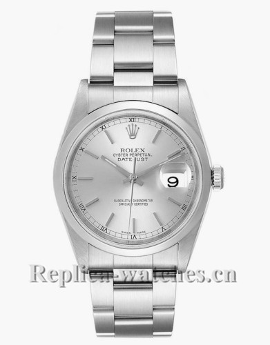 Replica Rolex Datejust 16200 Stainless steel case 36mm Silver Baton Dial Mens Watch