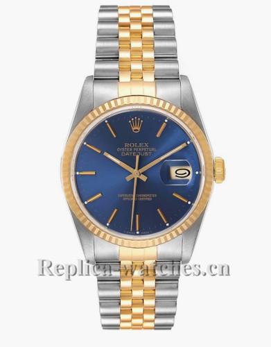 Replica Rolex Datejust 16233  Cyclops magnifier 36mm Blue Dial Mens Movement Watch