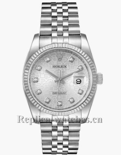 Replica Rolex Datejust 116234 Stainless steel case 36mm Silver Jubilee Diamond Dial Watch