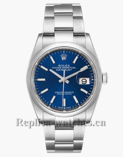 Replica Rolex Datejust 126200 Stainless steel case 36mm Blue Dial Domed Bezel Steel Mens Watch