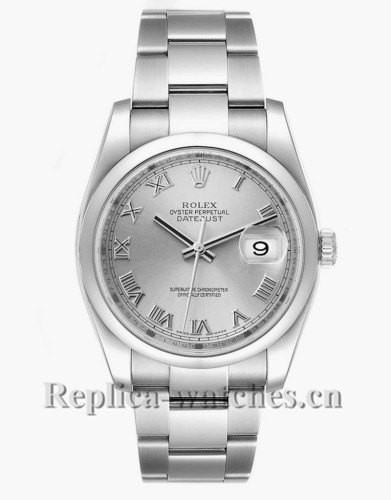 Replica Rolex Datejust 116200 Stainless steel 36mm Silver Dial Mens Watch  Box Papers