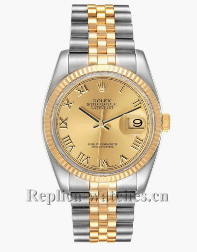 Replica Rolex Datejust 116233 Stainless steel case 36mm Champagne Dial Mens Watch