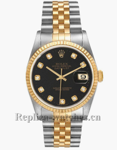 Replica Rolex Datejust 16233 Stainless steel 36mm Black Diamond dial Mens Watch