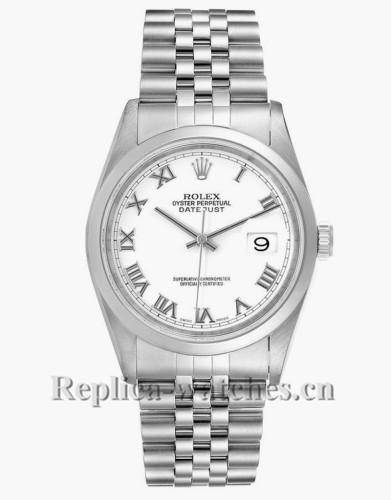 Replica Rolex Datejust 16200 White Roman Dial Jubilee Bracelet Steel 36mm Mens Watch