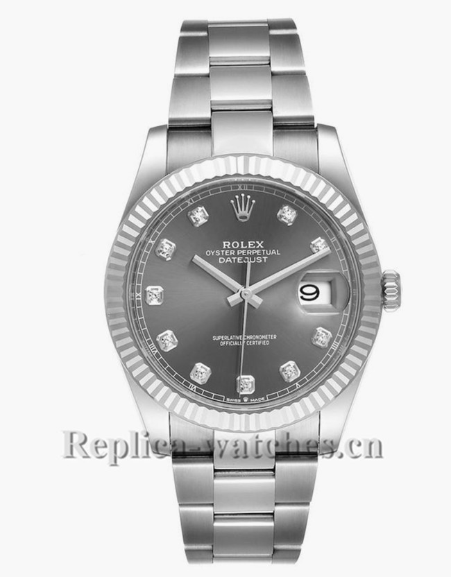 Replica Rolex Datejust 126334 Stainless steel 41mm Slate dial Diamond Mens Watch