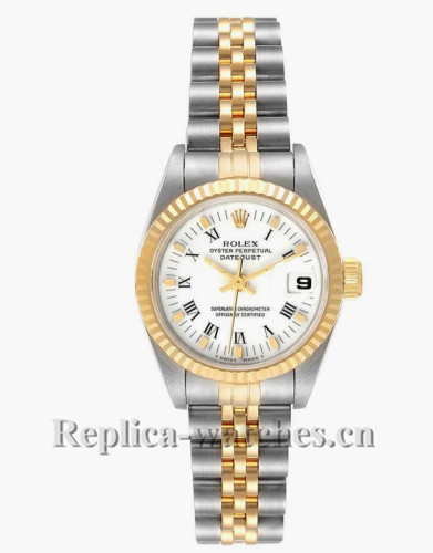 Replica Rolex Datejust 69173 Stainless steel oyster case 26mm White Roman Dial Ladies Watch