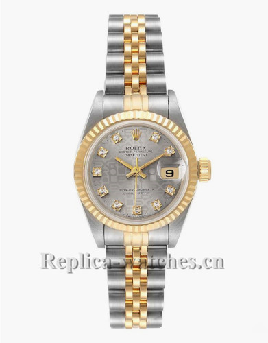 Replica Rolex Datejust 69173 Stainless steel oyster case 26mm Gray Dial Ladies Watch