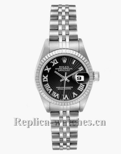 Replica Rolex Datejust 79174 Stainless steel oyster case 26mm Black Sunbeam Dial Ladies Watch