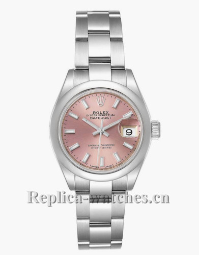Replica Rolex Datejust 279160 Stainless steel oyster case 28mm Pink Dial Ladies Watch