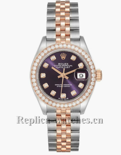 Replica Rolex Datejust 279381 Stainless steel oyster case 28mm purple dial Ladies Watch
