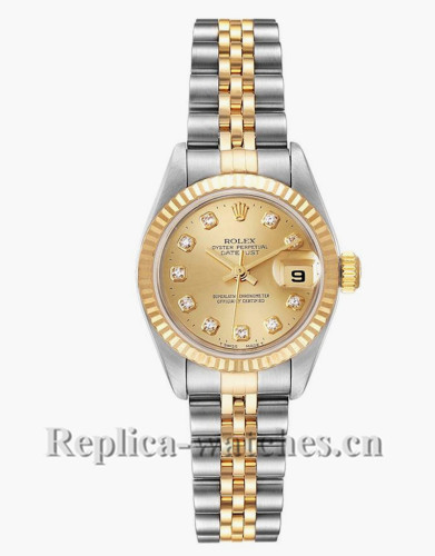 Replica Rolex Datejust 79173 Stainless steel oyster case 26mm Champagne Diamond Dial Ladies Watch