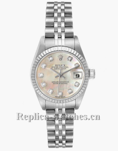 Replica Rolex Datejust 79174 Stainless steel oyster case 26mm Mother of pearl Diamond Ladies Watch