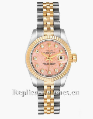 Replica Rolex Datejust 179173 Stainless steel oyster case 26mm Pink Coral Diamond Dial dial Watch