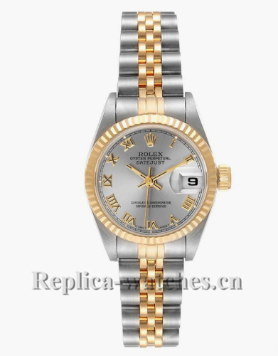 Replica Rolex Datejust 69173 Stainless steel oyster case 26mm Grey Dial Ladies Watch
