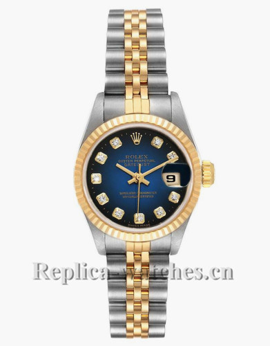 Replica Rolex Datejust 69173 Stainless steel oyster case 26mm Blue vignette dial Diamond Ladies Watch