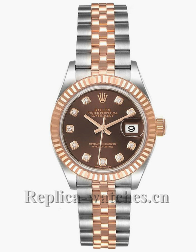 Replica Rolex Datejust 279171 Stainless steel oyster case 28mm Chocolate Diamond Dial Watch