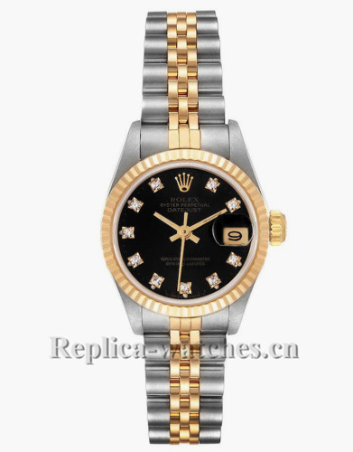 Replica Rolex Datejust 69173 Stainless steel oyster case 26mm Black Diamond Dial Ladies Watch