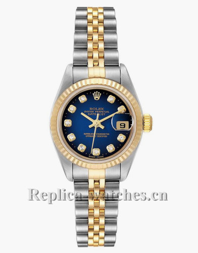 Replica Rolex Datejust 79173 Stainless steel oyster case 26mm Blue Vignette Diamond dial Ladies Watch