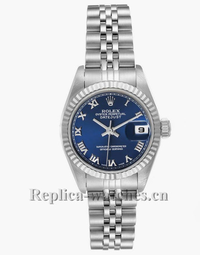 Replica Rolex Datejust 69174 Stainless steel oyster case 26mm Blue Roman Dial Ladies Watch