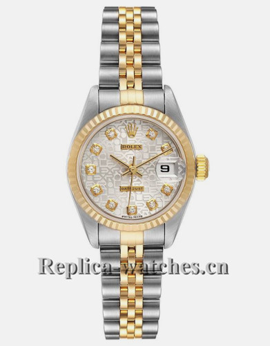 Replica Rolex Datejust 79173 Stainless steel oyster case 26mm Silver Diamond Dial Ladies Watch