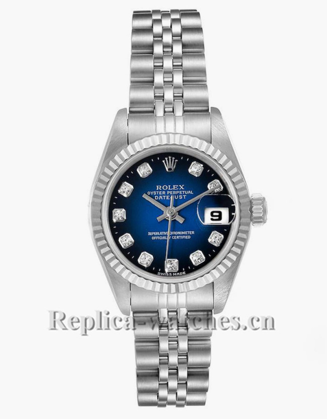 Replica Rolex Datejust 69174 Stainless steel oyster case 26mm Blue Vignette Diamond dial Ladies Watch