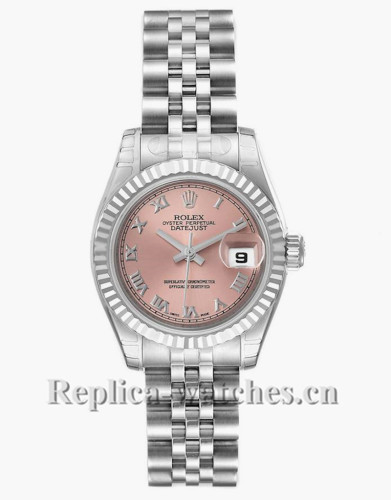 Replica Rolex Datejust 179174 tainless steel oyster case 26mm Salmon Dial Ladies Watch